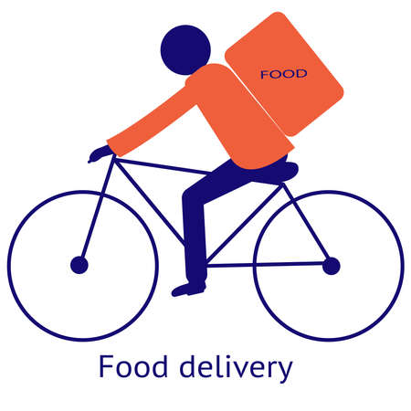 Food delivery. Isolated vector icon on a white background. Food delivery guy on a Bicycle