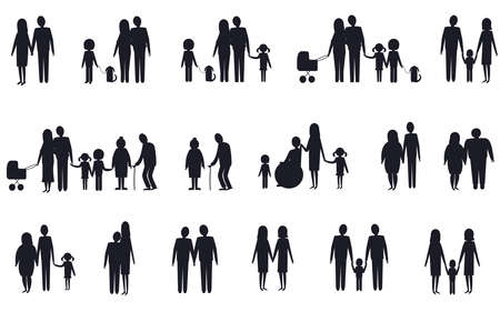 A set of silhouettes of various family types. Vector isolated image on a white background.