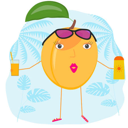 Funny apricot is resting at the resort. Vector illustration of a summer vacation at the sea. Funny cartoon fruit with sunglasses, sunscreen, juice. 向量圖像