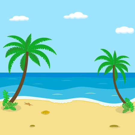 Seascape. Seashore, sea, palm trees Vector image flat style