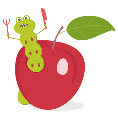 A cartoon worm eats an Apple. Vector illustration on a white background. A green worm with a fork and spoon sits in an Apple