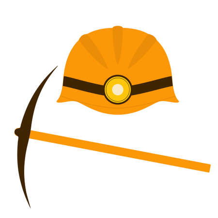 Miners helmet and pickaxe. Isolated vector image on a white background. Clipart