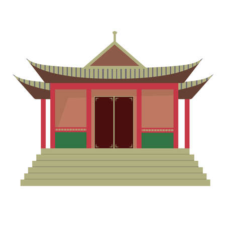 Buddhist temple. Isolated vector image on a white background. Clipart.