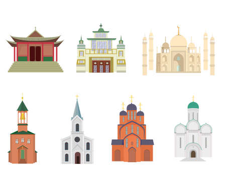 A set of images of temples. Isolated vector image on a white background. Clipart. Christian, Orthodox, Buddhist temple, mosque.