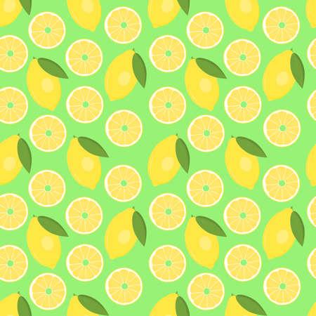Lemon. Seamless vector pattern for design, packaging, Wallpaper, fabric. Fruit pattern. Lemons and lemon slices on a green background.