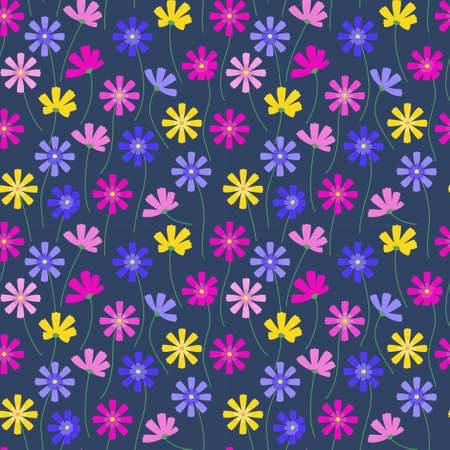 Cosmos flowers seamless vector pattern.
