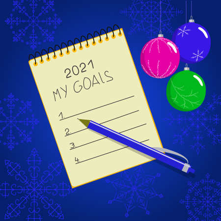 New year promises. Notepad with goals for 2021, pen. Isolated vector image on a white background.