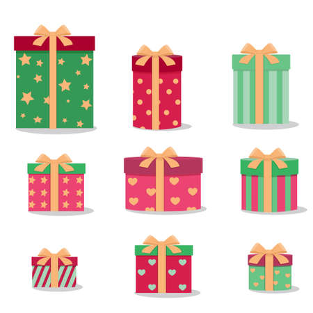 A set of gift boxes on  white Illustration