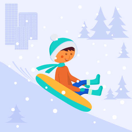A boy rides a tube down a hill. Winter entertainment. Vector image on the background of the city, snow and fir trees