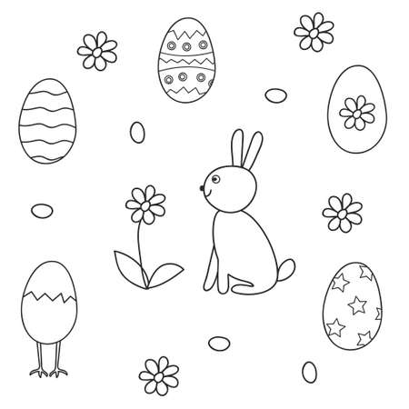 Set of contour bunny and Easter eggs. The isolated image on a white background.