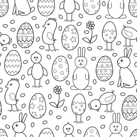 Easter seamless pattern. Vecton background with Easter eggs, chickens, rabbits on a white background for packaging, design, scrapbooking, fabric. Black and white background