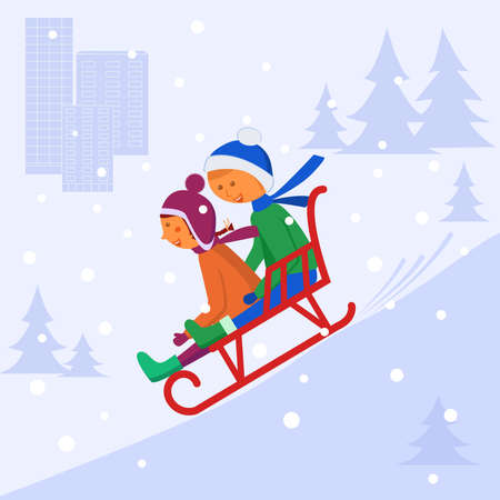 Children sledding down the hill. Vector image on the background of fir trees and houses. Vettoriali