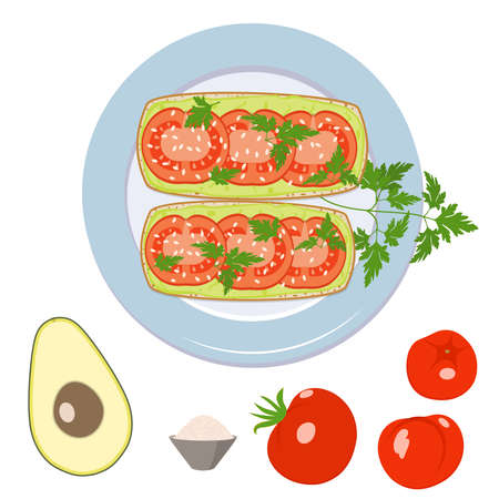 Vegan sandwich with avocado, tomatoes, sesame and parsley on a plate. Sandwich and its ingredients on a white background. Vector isolated image. Flat style