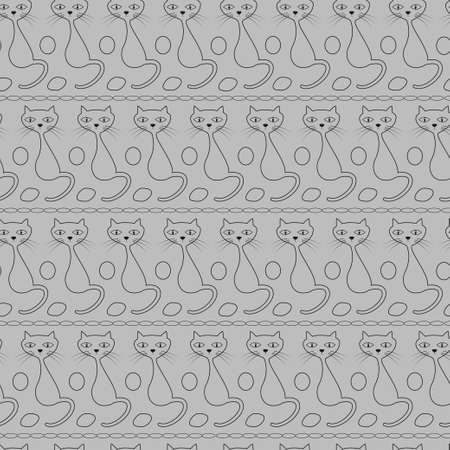 Black-white outline of a cat. Seamless vector pattern for design, packaging, wallpaper, fabric.
