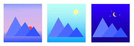 Vector morning, day, night icons. Isolated vector image. Icon of mountains during the day, morning, and night. The concept of the time of day