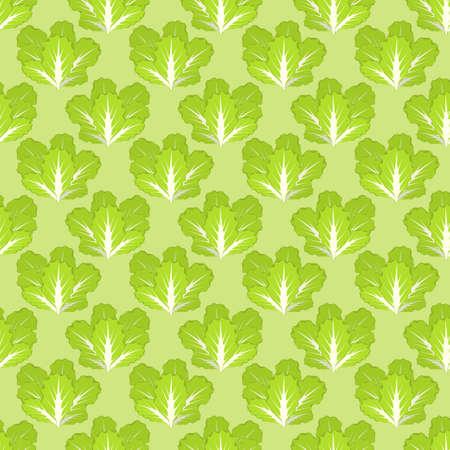 Lettuce. Seamless vector pattern. Lettuce on a green background.
