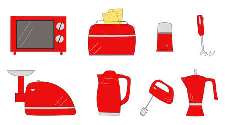 Set of electrical kitchen appliances. Isolated vector image on a white background.