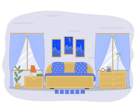 Bedroom. Vector image of a bedroom with a bed, bedside tables and camode. Flat style. Interiors. 向量圖像
