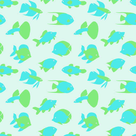 Fish seamless pattern. Abstract fish on a blue background.