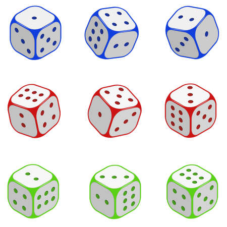 Dice set. Isometric color vector image isolated on white background. Vector Illustration