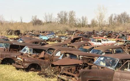 自動車墓地 写真素材