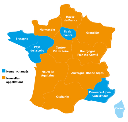 France map and regions Illustration