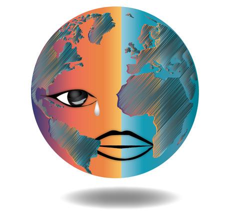 Earth sad - Map - World Map - Globe - Earth - Planet Illustration
