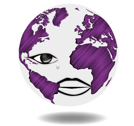 Sad Earth - Map - World Map - Globe - Earth - Planet