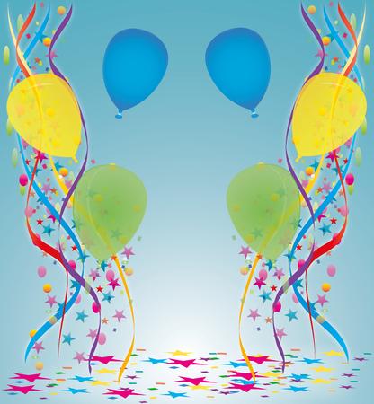 balon: Carnival with ribbons, balloons and stars
