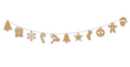 Decorations Christmas hanging, gold, background Illustration