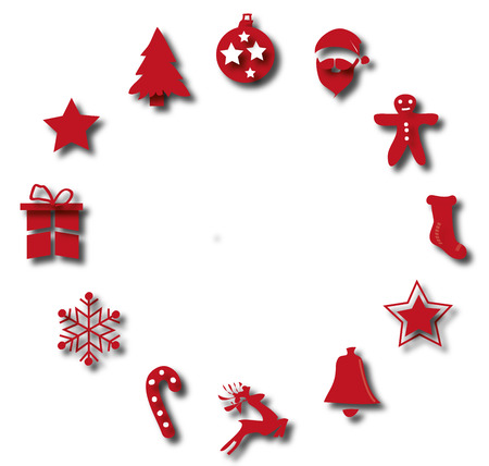 Christmas decorations hanging red background Illustration