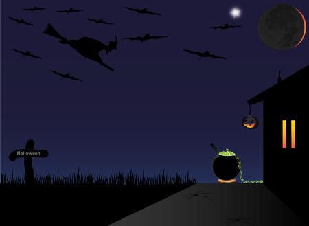 Halloween, graveyard, bats. Stock Vector - 75265012