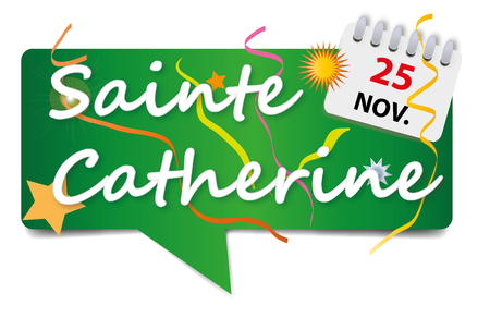 25th: November 25 - Feast of St. Catherine on green . Illustration