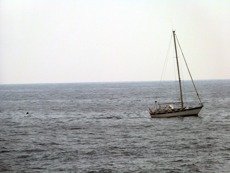 Boat with divers near sea odds