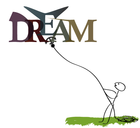 DREAMS - IMAGINE ... colors, letters Vector banner - catcher dreams