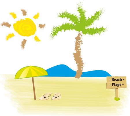 beach with palm, sea, sun and beach umbrella