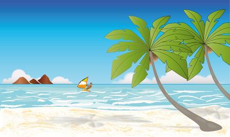 Beach with palm, skateboarder, sea Illustration