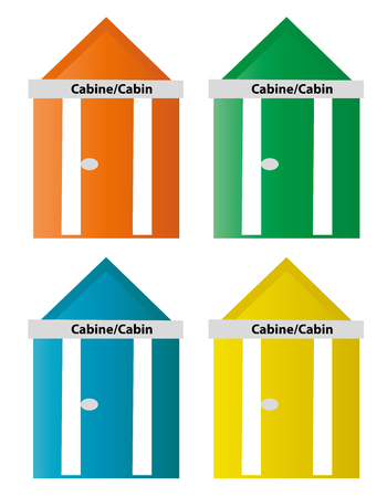 4 Beach huts Illustration