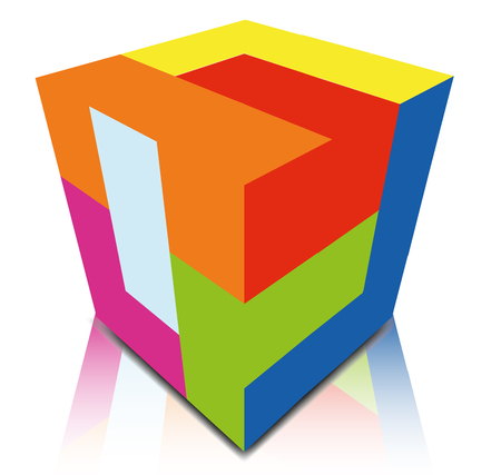 carrer: Abstract cube design on white background.