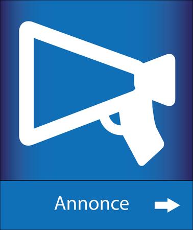 blue signage: White megaphone on blue background