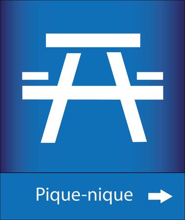 blue signage: Icon picnic area