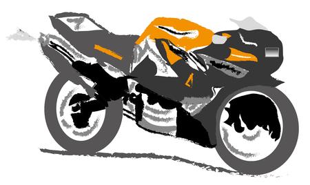 motorizado: Motocicleta - Bicicleta de carretera Vectores