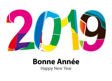Greeting Card - Happy New Year 2019 Illustration