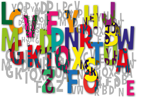 illiteracy: Alphabet text on abstract background Vector illustration