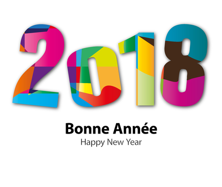 numbers background: Greeting Card - Happy New Year 2018 Illustration