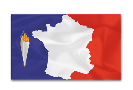 Torch -Drapeau with map of france vector illustration Illustration