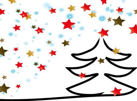 星とクリスマス ツリー  イラスト・ベクター素材