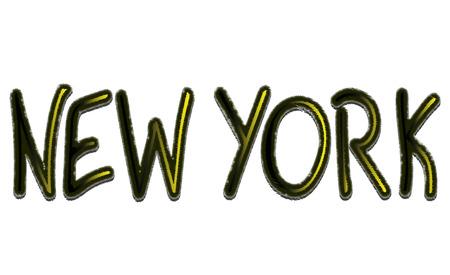 De tekst vectorillustratie van New York op witte achtergrond.