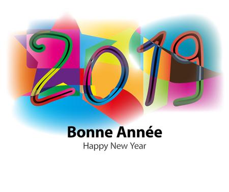 Bonne année 2019 vector illustration sur fond coloré. Banque d'images - 91990559