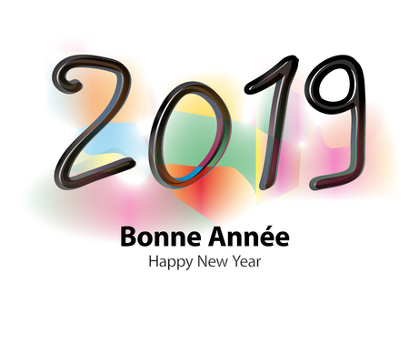 Happy new year 2019 vector illustration on colorful background.